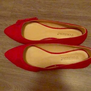 Red pointy toe flats